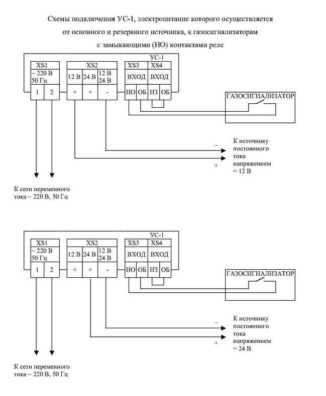 Схемы подключения УС-1